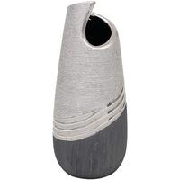 Dekohelden24 Edle Moderne Deko Designer Keramik Vase wellenförmig in Silber-grau, Welle 25 cm