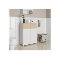 VASAGLE Sideboard BBK43WN, Badezimmerschrank, Sideboard mit Doppeltür, weiß