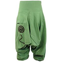 Guru-Shop Relaxhose Goa Pluderhose, Aladinhose - grün