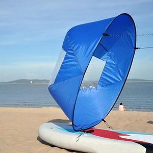 QLING Kajak Segel Paddel Boot Windsegel Paddel Tragbares Kajak Kanu Downwind Segel Kit Kompaktes Kajak Zubehör für aufblasbare Boote Kajaks Kanus, blau, Free Size