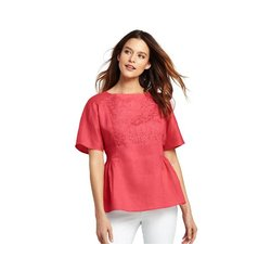 Besticktes Leinenshirt - M - Rot