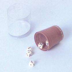 Leder-Würfelb. nat. 5 cm+6 Würfel