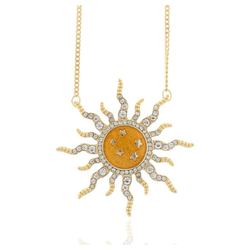 J & S JULIASS WELT Collier Collier Sonne, vergoldet, mit Kristallstein, inkl. Schmucketui