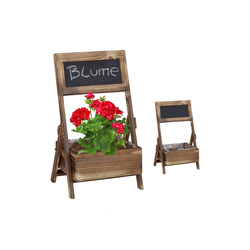 relaxdays Blumentopf Holz Übertopf mit Tafel 2er Set