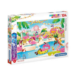 Clementoni® Puzzle Brillant Puzzle 104 Teile - Flamingo Party, Puzzleteile