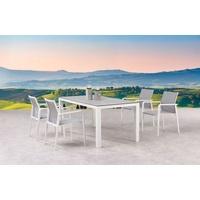 BEST Freizeitmöbel BEST 5-tlg. Dining Gruppe Rhodos+Houston weiss/Keramik