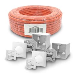 ARLI Netzwerk-Adapter, 2500 cm, Cat7 Verlegekabel 25 m S/FTP PIMF Halogenfrei Netzwerkkabel + 2 x Cat6a Netzwerkdose