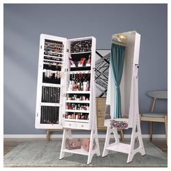 Masbekte Schmuckschrank Spiegelschrank stehend, mit 120 cm hohem Spiegel, weiß weiß