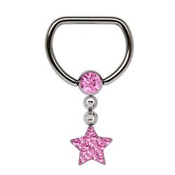 Adelia´s Brustwarzenpiercing Brustpiercing, Titan Brustpiercing D-Ring + 5 mm Klemm-Kugel mit Kette + Stern rosa