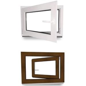Kellerfenster - Fenster - Dreh- & Kippfunktion - innen weiß/außen nussbaum - BxH: 50 x 90 cm - 500 x 900 mm - DIN Links - 2 fach Verglasung - 60 mm Profil