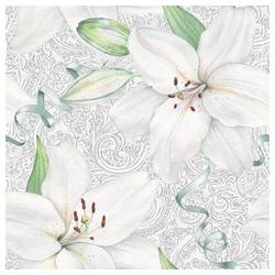 Linoows Papierserviette 20 Servietten, Weiße Lilien auf antiker Häkelspitz, Motiv Weiße Lilien