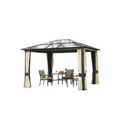 Outsunny Pavillon Gartenzelt mit lichtdurchlässigem Dach