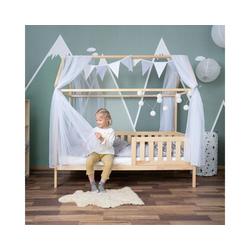 Alcube Kinderbett Hausbett Deko Set, Dekoration für Hausbetten mit Baldachin Lichterkette und Wimpel weiß