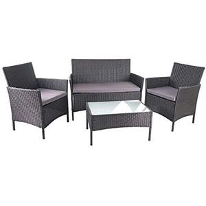 Mendler Poly-Rattan Garten-Garnitur HWC-D82, Sitzgruppe Lounge-Garnitur ~ schwarz mit Kissen anthrazit