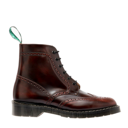 Solovair 6 Eye Brogue Boot - Burgundy Rub-Off