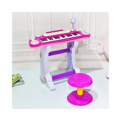 COSTWAY Keyboard Kinder Keyboard, 37 Tasten, inkl. Mikrofon, mit Ständer&Lichter, Rosa rosa