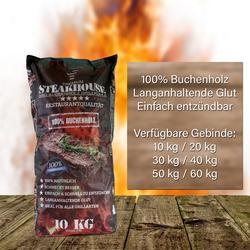Steakhouse Premium Grillkohle aus Buche (10, 20, 30, 40, 50 o. 60 kg), Kilogramm: 3x 10kg Sack