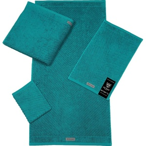ROSS Handtuch Smart (2-St), Uni-Rippe mit Velourslabel grün