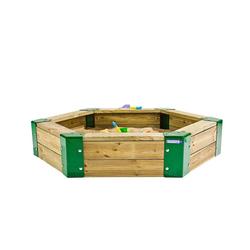 Hörby Bruk Sandkasten, Sandkasten aus Holz, 6-eckig, Holzsandkasten, Sandbox mit Abdeckung