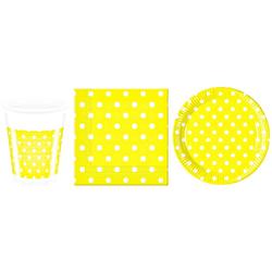 TOP! Einweggeschirr-Set Partyset Dots - 36 Teile, gelb