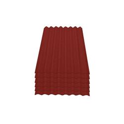 Onduline Wellplatte Onduline Easyline Dachplatte Wandplatte Bitumenwellplatten Wellplatte 6x0,76m² - rot, Wellig, 4.56 m² pro Paket, (6-St)
