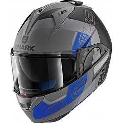 Shark Evo-One 2 Slasher Modularhelm - Matt Grau/Schwarz/Blau - XS