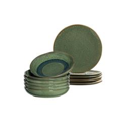 LEONARDO Geschirr-Set MATERA Geschirr Tafelservice grün 12-teilig (12-tlg), Keramik