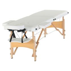 Masbekte Massageliege, Faltbar Höhenverstellbar, Mobile Massageliege klappbare Therapieliege Massagebett leichter Massagetisch 2 Zonen Holzfüße weiß
