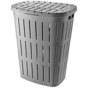 Hoffmanns 62 Liter Wäschesammler Kunststoff Wäschesammler Wäschekorb Wäschetonne+Deckel Wäschebox Wäschebehälter Wäschtruhe (grau)