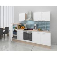 Respekta Küchenzeile Küchenblock 270 cm Eiche Natura weiß