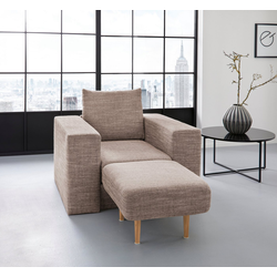 LOOKS by Wolfgang Joop Sessel, Verwandlungssessel: aus Sessel wird Sessel mit Hocker natur