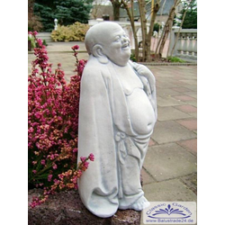 S101065 Gartenfigur kleiner lachender Buddha Steinfigur 28cm (Material: Weißbeton)