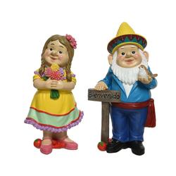"Decoris season decorations Gartenzwerg, Gartenzwerg ""Willkommen"" Keramik 30.2cm, 2 Stück"
