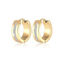 Elli Paar Creolen Basic Creolen Creole Zirkonia Kristalle 925 Silber goldfarben