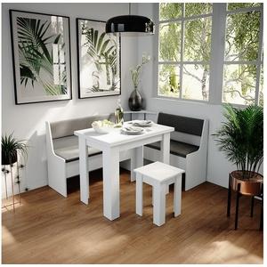 Vicco Sitzbank Küchenbank Roman weiß Eckteil Sitzecke gepolstert Ablagen Eckbank Küche