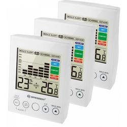BRESSER Hygrometer MA Hygrometer mit Schimmelalarm - 3er Set weiß