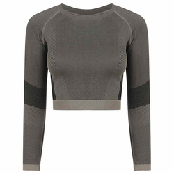Bauchfreies Langarm-Top | Tombo light grey/black XXS/XS
