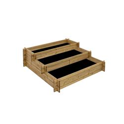 Stufenhochbeet aus Holz, 3 Pflanzbereiche, Hochbeet