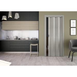 Kunststoff-Falttür Elvira 3D-Farben 202x87 cm ohne Fenster (grau gewebt)