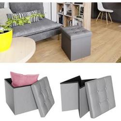 VICCO Sitzhocker grau Sitzwürfel Hocker Aufbewahrungsbox faltbar 38x38x38 cm