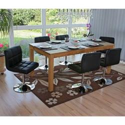 6x Esszimmerstuhl Drehstuhl Stuhl Cadiz Kunstleder Chrom ~ schwarz