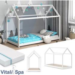 VITALISPA Hausbett WIKI 90x200 Weiß Kinderbett Kinderhaus Matratze Bett Holz