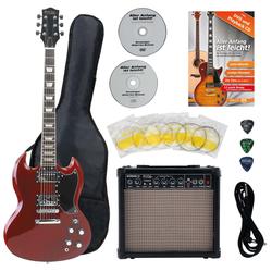 Rocktile Pro S-Red E-Gitarre Heritage Starter Set + Zubehörset+ Amp