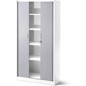 Jan Nowak Rollladenschrank T001, Jalousieschrank, Aktenschrank, Büroschrank, Universalschrank, Querrolladenschrank, Rolltür, abschließbar 185 cm x 90 cm x 45 cm (weiß/grau)