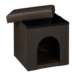 relaxdays Sitzhocker mit Hundebox   braun 38,0 x 38,0 x 38,0 cm