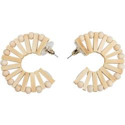 styleBREAKER Paar Creolen (2-tlg), Holz Creolen Ohrringe mit Perlen und Stäbchen braun