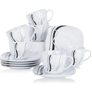 VEWEET Porzellan 6 Kaffeetassen mit 6 Untertassen 'Fiona' 12-teilig Set   Füllmenge 220 ml   Ergänzung zum Tafelservice 'Fiona'   Kaffeeservice Set für 6 Personen