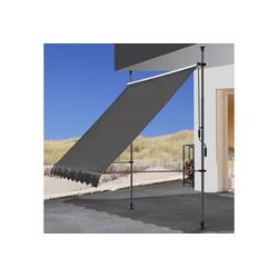 Quick Star Klemm-Senkrechtmarkise 250 cm Breite, 130 cm Ausfall, Neigungswinkel verstellbar grau