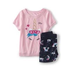 Kurzes Pyjama-Set mit Grafik, Größe: 128-134, Sonstige, Polyester, by Lands' End, Schlafendes Einhorn - 128-134 - Schlafendes Einhorn