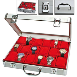 Uhrenkoffer Alu innen rot für 18 Uhren